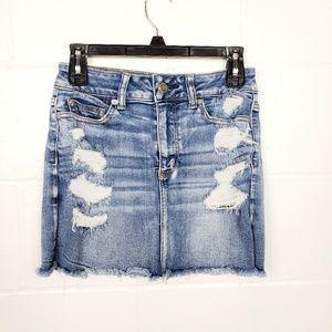 American Eagle Distressed Denim Jean Skirt